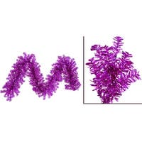 "9' x 14"" Pre-Lit Fuchsia Wide Cut Laser Tinsel Christmas Garland - Pink Lights"