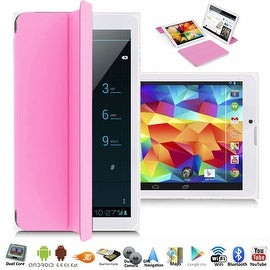 "Indigi® A76 Factory Unlocked 7.0"" Dual-Core 2-in-1 SmartPhone+TabletPC w/ Android 4.4 KitKat DualSim WiFi + Smart Cover (Pink)"