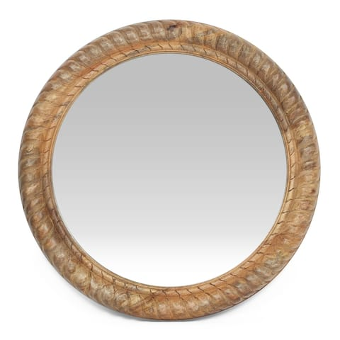 "Vanlue Traditional Handcrafted Round Mango Wood Wall Mirror by Christopher Knight Home - 24.00"" L x 1.00"" W x 24.00"" H"