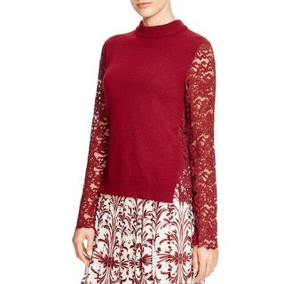 Tory Burch Womens Pullover Top Wool Blend Lace Trim
