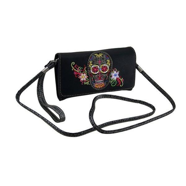 Embroidered Sugar Skull Floral Trim Wallet w/Removable Shoulder Strap