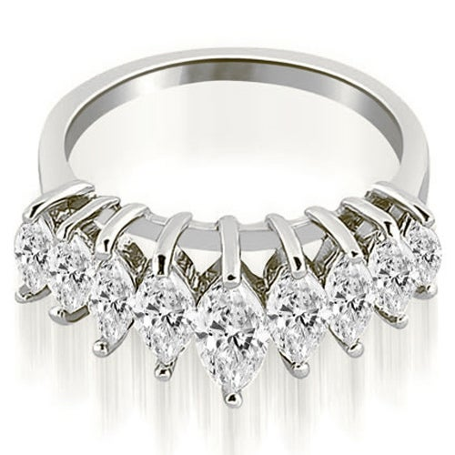 1.75 cttw. 14K White Gold Marquise Diamond Prong Wedding Band
