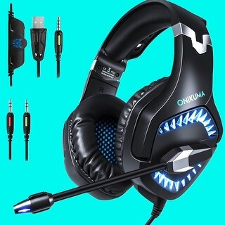 ONIKUMA K1 Pro Stereo PC Gaming Headset for PS4 NewXbox One with Mic Blue /Red
