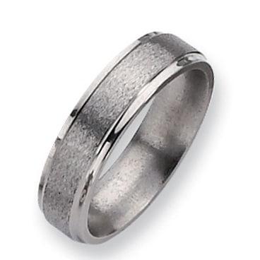 Chisel Ridged Edge Satin and Polished Titanium Ring (6.0 mm)