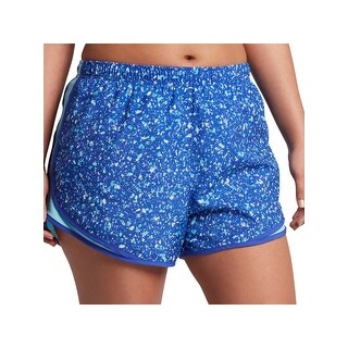 Nike Womens Plus Shorts Printed Dri-Fit - vivid sky/wolf grey