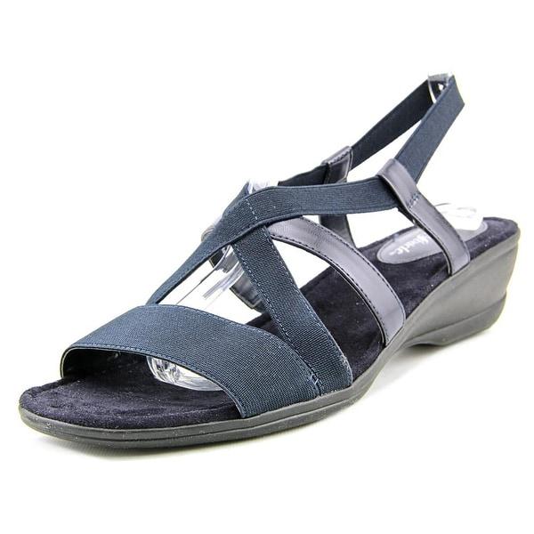 Life Stride Allure Women  Open Toe Canvas Blue Wedge Sandal