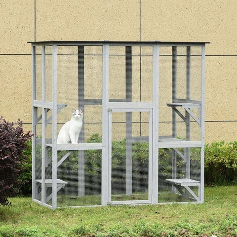 Large Wooden Outdoor Cat Enclosure Cage