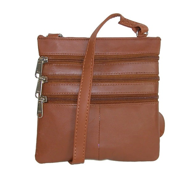 CTM® Women's Leather Multi Pocket Crossbody Bag - one size