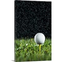 Premium Thick-Wrap Canvas entitled Golf ball on tee in rain - Multi-color