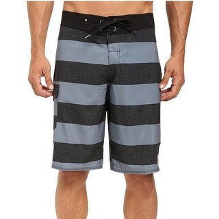 Quiksilver NEW Gray Men's Black Size 34 Striped Pocket Board Shorts