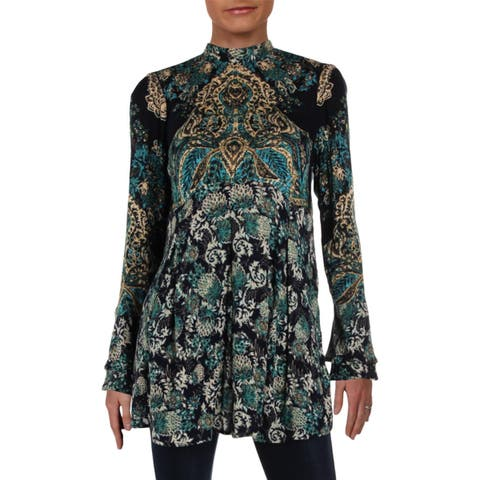 Free People Womens Tunic Top Tie-Neck Bell Sleeve