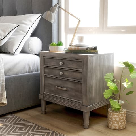 Furniture of America Hax Transitional Grey Solid Wood Nightstand