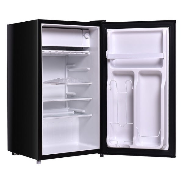 Costway Stainless Steel Refrigerator Small Freezer Cooler Fridge Compact 3.2 cu ft. Unit