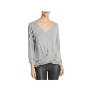 Three Dots Womens Sweater Metallic Three-Quarter Sleeve