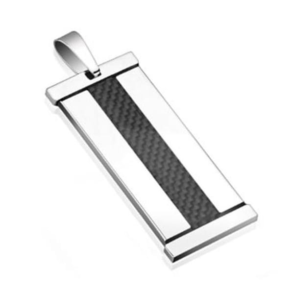 Black Carbon Fiber Inlay Stainless Steel Pendant (20 mm Width)
