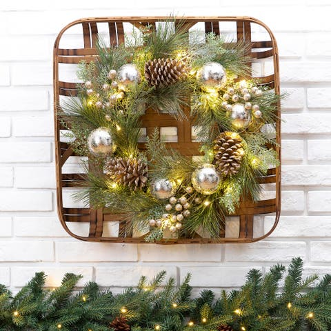 """24""""D Pre-Lit Ball Berry Holly Pinecone & Ornament Wreath with Tobacco Basket Set"""