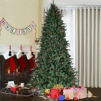 Costway 8FT Artificial PVC Christmas Tree 2528 Tips Green w/Pine Cones & Red Berries