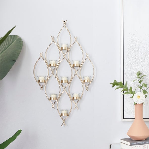 CosmoLiving by Cosmopolitan Bronze Metal Wall Sconces 32 x 18 x 3 - 18 x 3 x 32. Opens flyout.