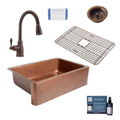 """Adams 33"""" Farmhouse Copper Kitchen Sink with Canton Faucet and Disposal Drain"""