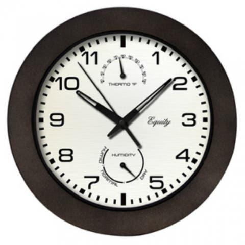 """Equity 404-2631 Wall Clock with Temperature & Humidity Gauges, Black, 10"""""""