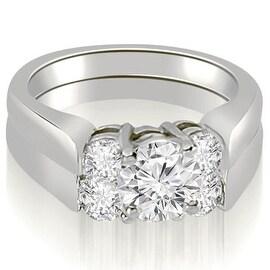 1.50 cttw. 14K White Gold Round Cut Diamond Engagement Bridal Set