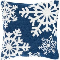 """18"""" Navy Blue and Snowy White Decorative Snowflake Christmas Throw Pillow -Down Filler"""