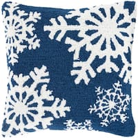 """18"""" Navy Blue and Snowy White Decorative Snowflake Christmas Throw Pillow Cover"""