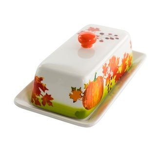 Gibson Home Harvest Leaves 7.7 Inch Durastone Butter Dish with Lid