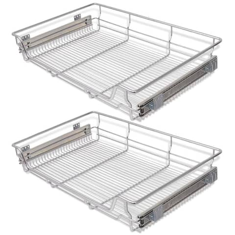 vidaXL Pull-Out Wire Baskets 2 pcs Silver 31.5""