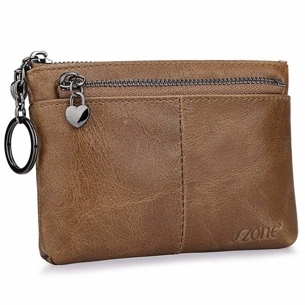 Women  x27 S Genuine Leather Triple Zipper Small Wallet Change Coin Purse  Card Holder 10731b83f4