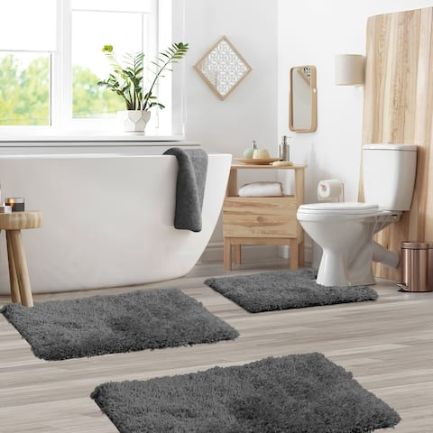 Porch & Den Lorena Shaggy/ Non-slip Rubber Backed Bath Rug Set