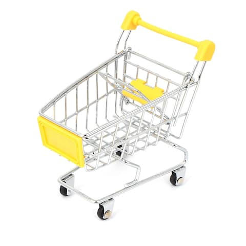 Mini Shopping Cart Hand Trolly Toy Desktop Storage Container Yellow