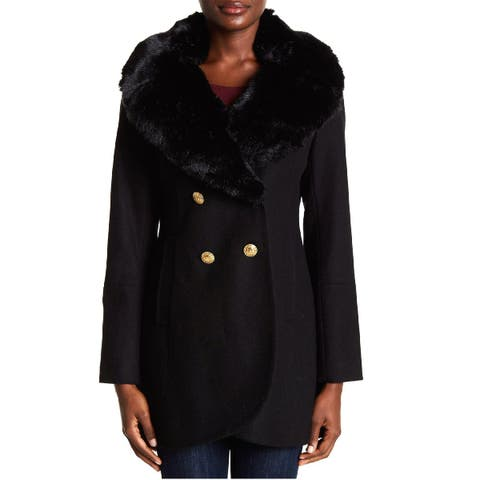 French Connection Faux Fur Collar Wool Blend Walker Coat Black