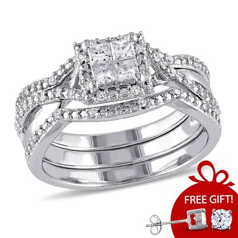 Quad Crossover Diamond Bridal Set in Sterling Silver by Miadora