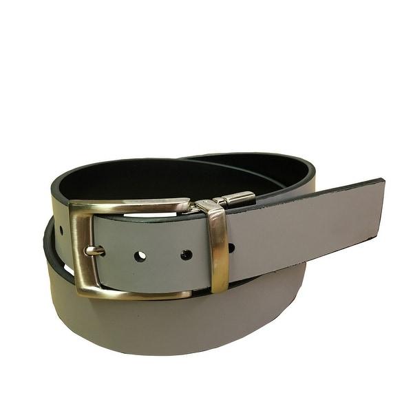 Danbury Western Belt Mens Reversible Leather Silver Finish
