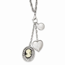 Silvertone Polished Multi-Locket Acrylic Cameo Charm Necklace - 26in