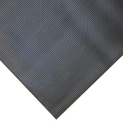 "Goodyear ""Fine-Ribbed"" Rubber Flooring -- 3.5mm x 36"" x 8ft - Black - 36x96"