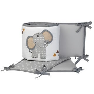 Link to Lambs & Ivy Jungle Safari Gray/White Elephant 4-Piece Baby Crib Bumper Pads Similar Items in Bedding Sets