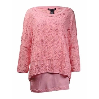 Grace Elements Women's Dolman Crochet Lace Overlay Top