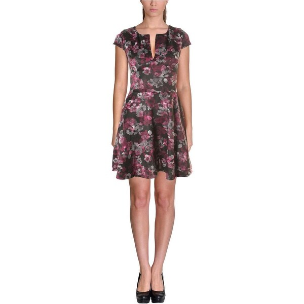 Aqua Womens Juniors Scuba Dress Floral Print Slash Neck