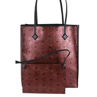 MCM Women's Metallic Red KIRA Visetos Tall Shopper Purse W/Pouch