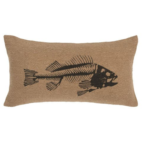 "Rizzy Home Fish Skeleton Black 14"" x 26"" Decorative Pillow"