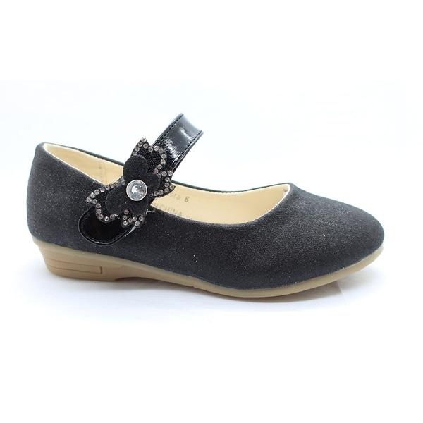 Shop Little Girls Black Red Glitter Rhinestone Mary Jane Dress Shoes