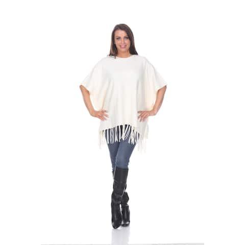 Megara Side Buttoned Fringe Poncho - White