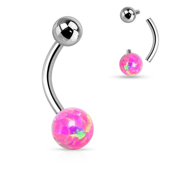 Opal Ball Surgical Steel Belly On