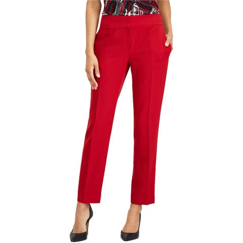 Kasper Womens Stretch Crepe Slim Leg Dress Pants, red, 16