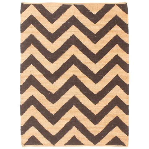 ECARPETGALLERY Flat-weave Palas Denizli Black, Tan Jute Kilim - 5'6 x 7'7