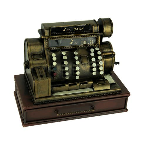Old Fashioned Metal Cash Register Sculpture with Drawer - 6.75 X 9 X 5 inches