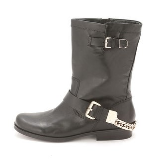 GUESS Womens Girton Leather Closed Toe Mid-Calf Motorcycle Boots
