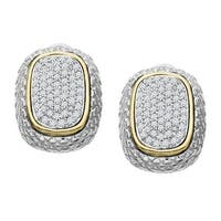 1/2 ct Diamond Earrings in Sterling Silver & 14K Gold